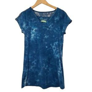 Earth Yoga Blue Tie Die & Lace T-Shirt Size Large